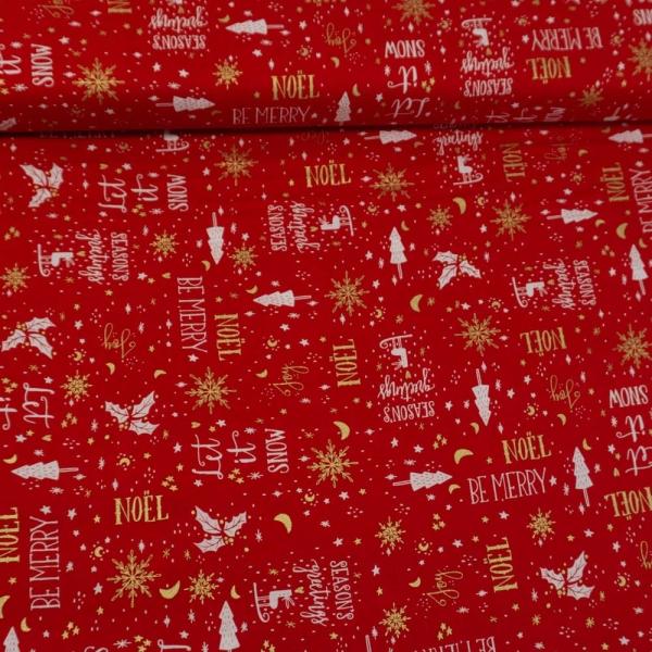 Baumwollwebware Christmas Miracle rot