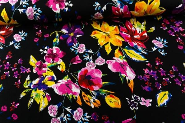 Viskosejersey Aquarellblumen schwarz Ökotex 100