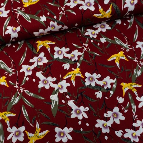 Baumwollwebware Birds & Flowers bordeaux