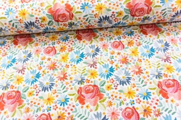 Baumwolljersey DIGITAL Embroidery Flowers weiß Ökotex 100
