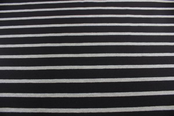 Baumwolljersey Streifen 1,5/0,5 schwarz hellgrau meliert Ökotex 100