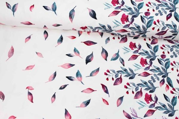 Baumwolljersey Bordüre Rosegold Falling Leaves weiß Ökotex 100