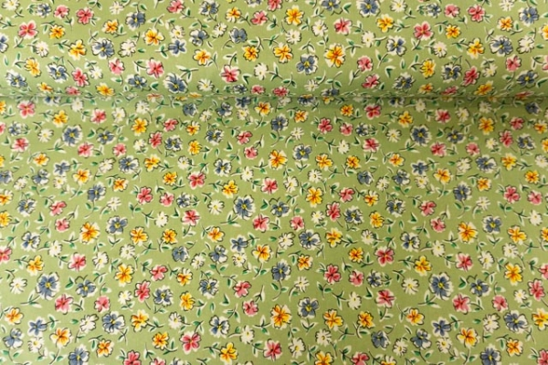 Baumwollwebware Schnittblumen aquarell kiwi Ökotex 100
