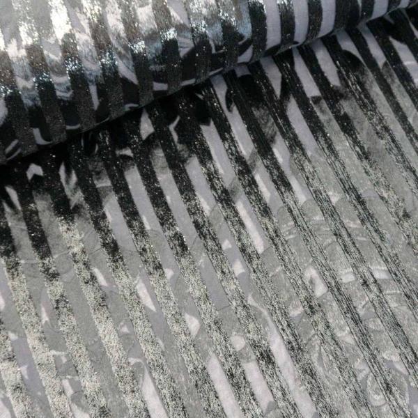 Viskose Chiffon Samt-Streifen schwarz