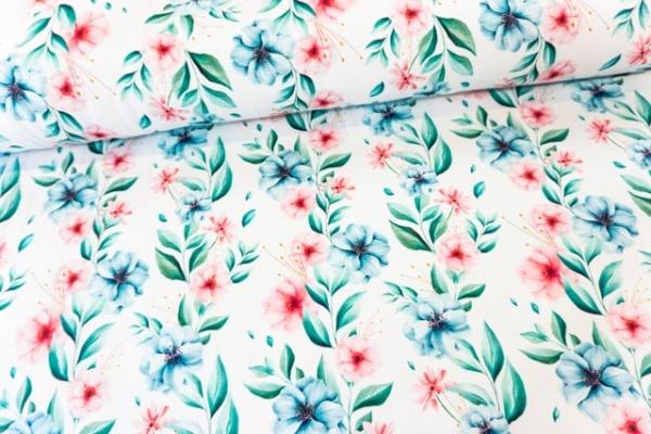 Bio-Baumwolljersey Pastellblumen weiß Ökotex 100