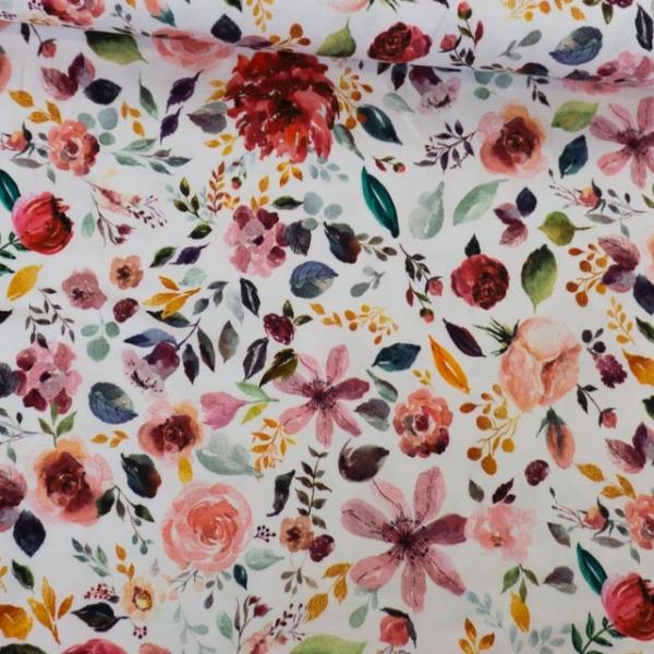 Bio-Baumwolljersey Painted Flowers weiß Ökotex 100
