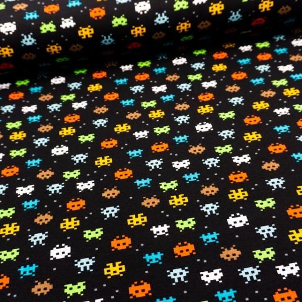 BIO Baumwolljersey Pixels schwarz