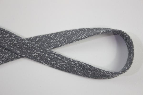 18mm Hoodie Kordel Flachkordel anthra meliert Baumwolle Ökotex 100