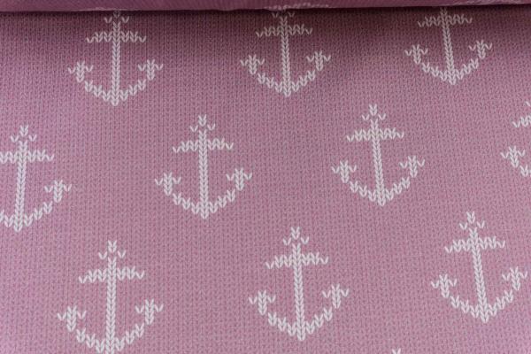 Baumwolljersey Anchor Knit rose - weiß Ökotex 100