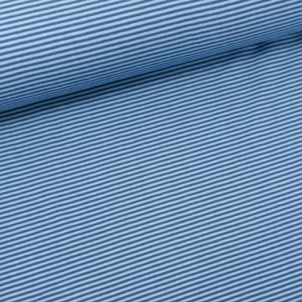 Baumwolljersey Ringel navy-jeansblau