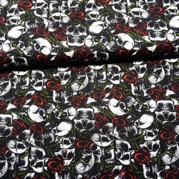 Baumwollwebware Skulls with Roses weiß