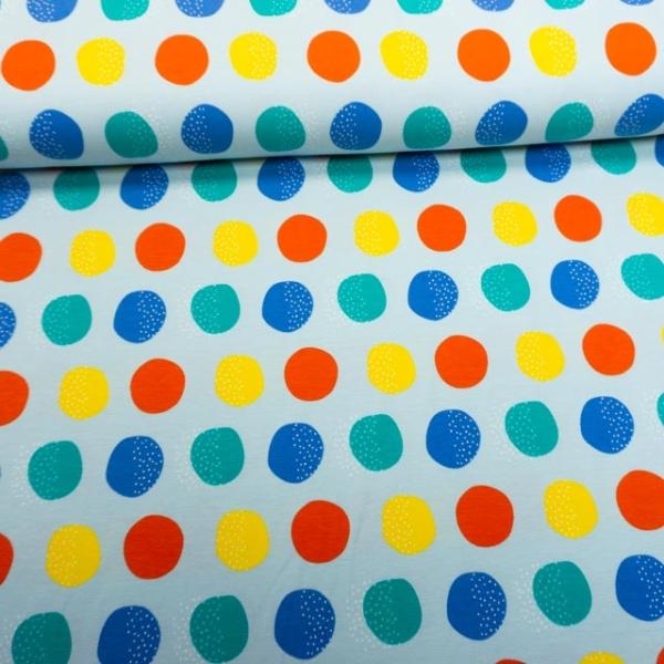 Baumwolljersey Big Dots jeansblau hell