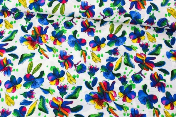 Viskose Blüten Aquarell Ökotex 100