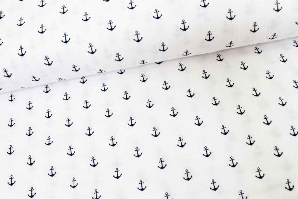 Musselin Anker weiß-navy Ökotex 100 100% Cotton