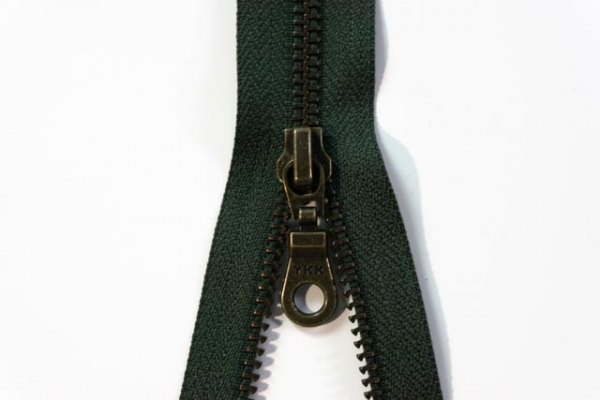 YKK teilbarer Reißverschluss Metall khaki Ökotex 100