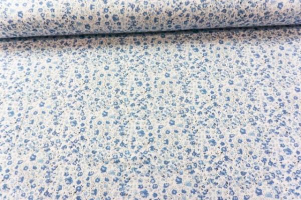 Baumwolljersey Kleingeblümt weiß-blau Ökotex 100