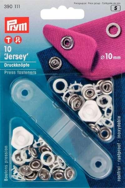 Jersey Druckknöpfe weiß-silber 10 mm inkl. Lochwerkzeug