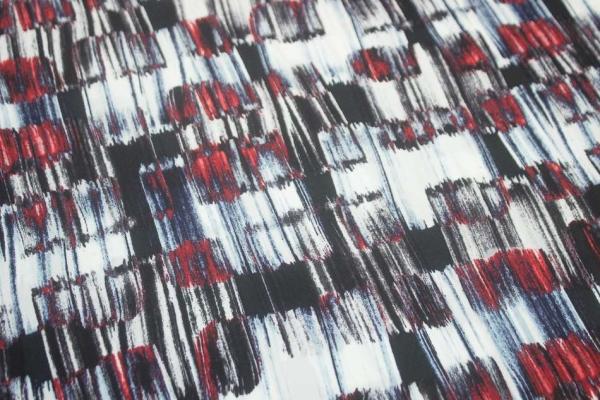 Hosenstoff Gepinselt ecru-blau-rot Satin