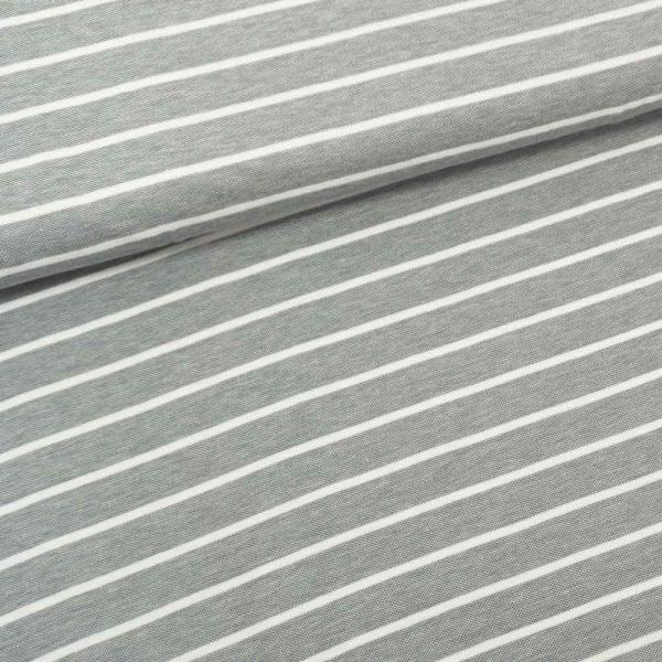 Baumwolljersey Polo Pique Streifen grau