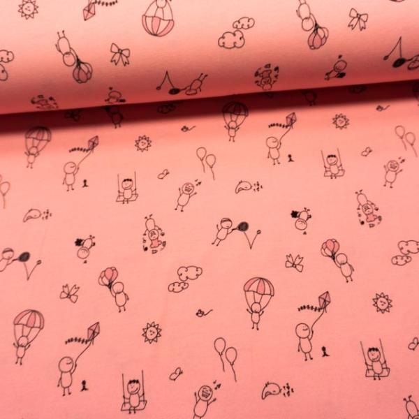 Baumwolljersey Doodles rosa