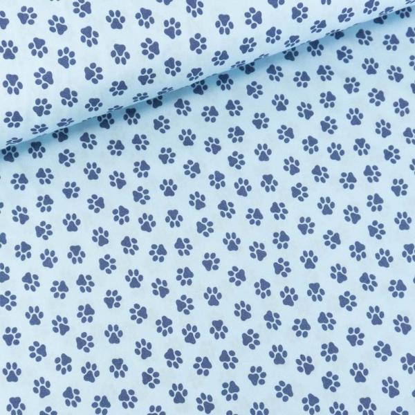Baumwollwebware Pfoten hellblau