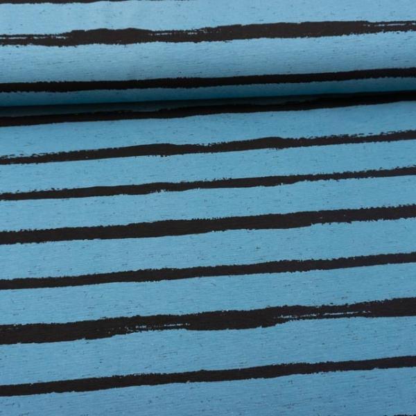 Baumwolljersey Melange Stripes jeansblau
