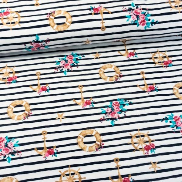Baumwolljersey Marine Stripes weiß-navy