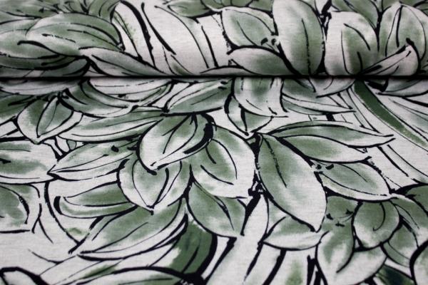 Strick-Jacquard Aquarell Blumen khaki