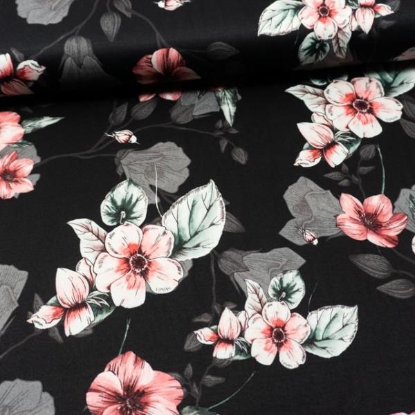 Jersey Soft Skin Blüten schwarz