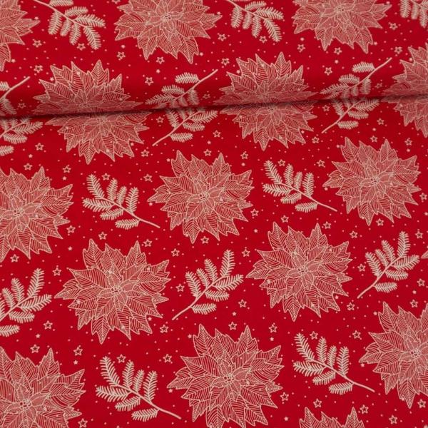 Baumwollwebware Weihnachtsstern und Zweige rot