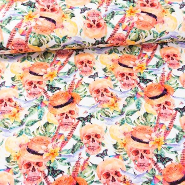 Baumwolljersey Digital Totenköpfe Hawaii ecru