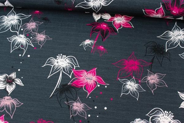 Baumwolljersey Big Blossom meliert navy-pink beere-altrosa Ökotex 100