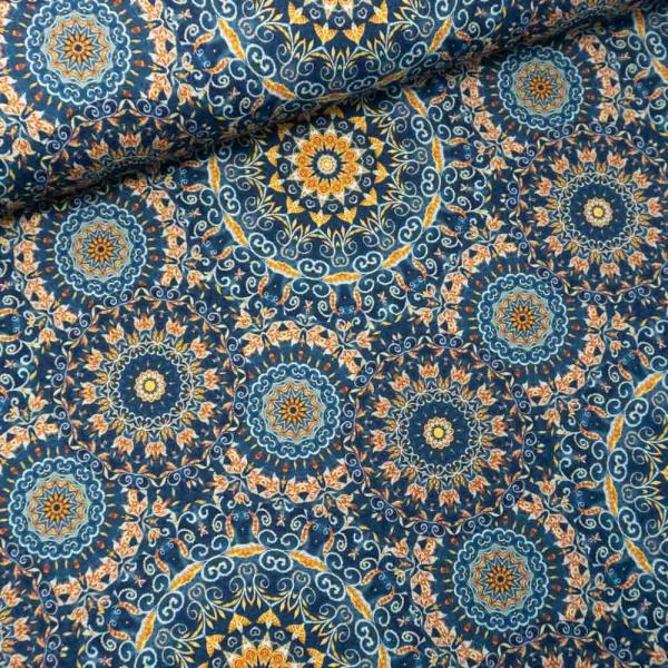 Viskosejersey Digital Oriental Mandala jeansblau