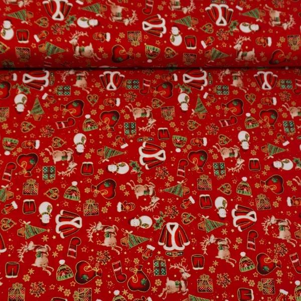 Baumwollwebware Weihnachtsträume rot