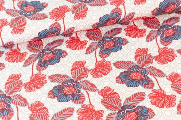 Baumwollwebware Oriental Flower beige Ökotex 100
