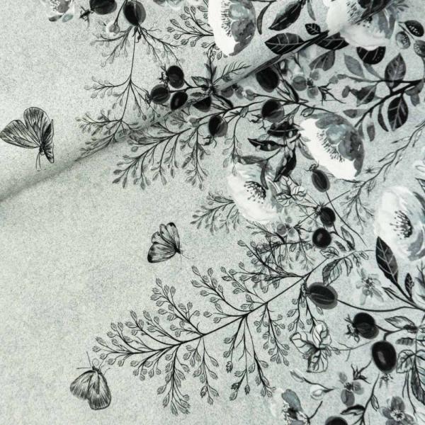 Bio-Baumwolljersey BORDÜRE melange Blossom Branches grau