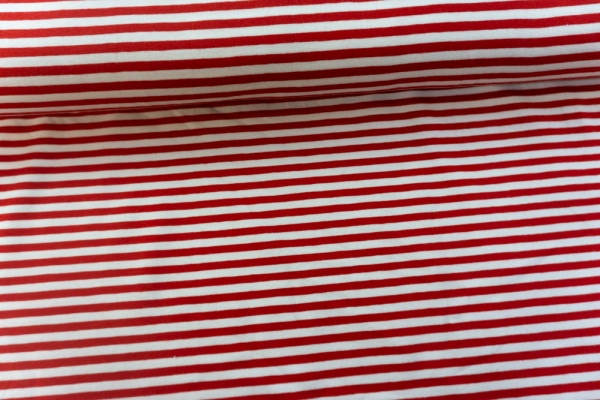 Baumwolljersey Basic STRIPES rot Ökotex 100