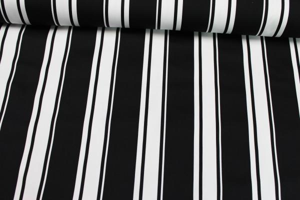 Elastische Baumwolle Streifen schwarz-weiß Poplin Stretch Öko Tex 100