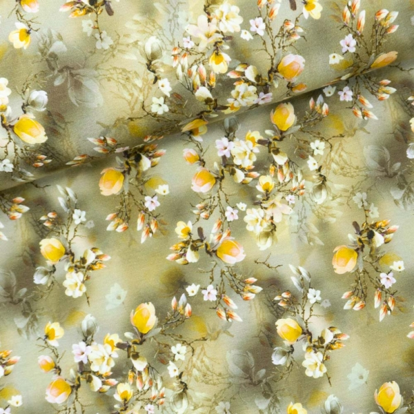 Viskosejersey Digital Faded Flower senf