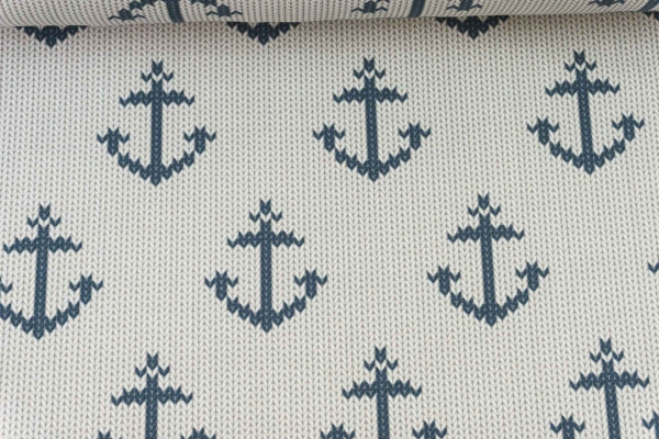 Baumwolljersey Anchor Knit natur - navy Ökotex 100