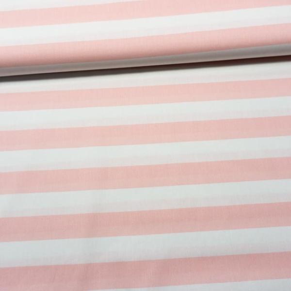 Baumwollwebware Blockstreifen weiß-rosa