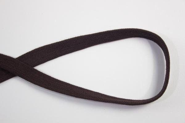 14mm Hoodie Kordel Flachkordel dunkelbraun Baumwolle Ökotex 100