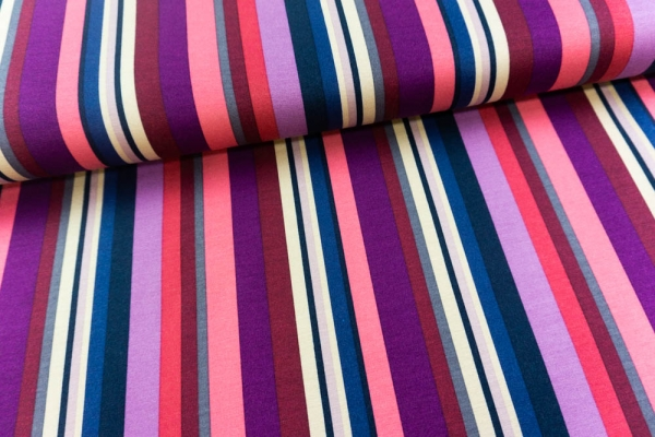 Modal Sweat Funky Stripes beere-bordeaux-navy Ökotex 100