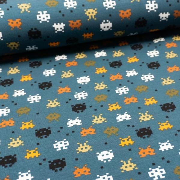 BIO Baumwolljersey Pixels dusty jeansblau