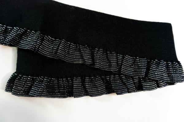 Gummiband große Rüsche Glam schwarz-silber 60mm Ökotex 100