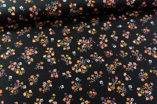 Baumwolljersey DIGITAL kleine Streublumen schwarz Öko Tex 100