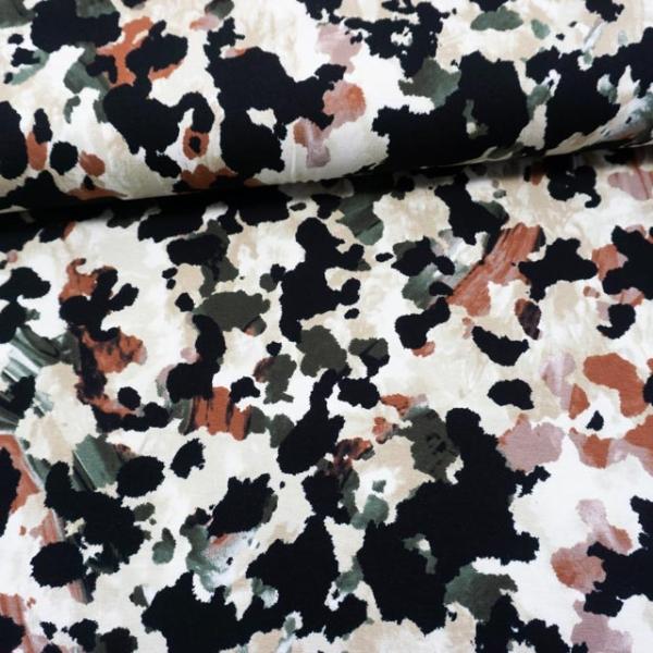 Viskosejersey Camouflage schwarz