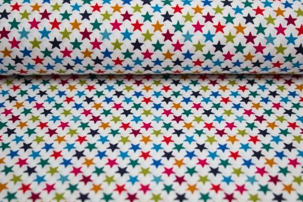 Baumwolle/Webware Sterne weiß-multicolor Öko Tex 100