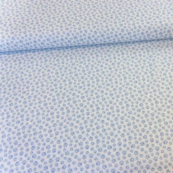 Baumwollwebware Italienische Kollektion Kleine Tatzen blau Ökotex 100