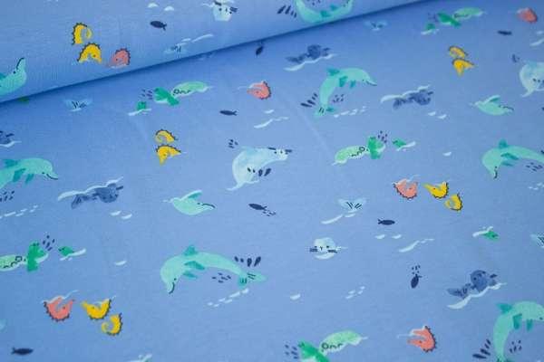 Meerestierchen Seafriends blue Baumwolljersey Öko Tex 100
